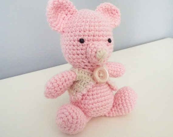 Amigurumi Baby Shower Bears : Pink crochet amigurumi Teddy Bear Handmade by ...