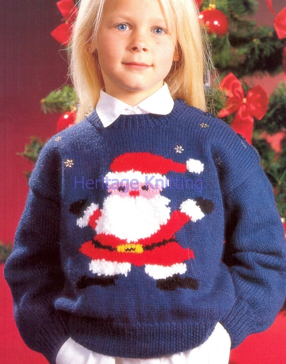 Father Christmas Jumper Dk Knitting Pattern 99p From