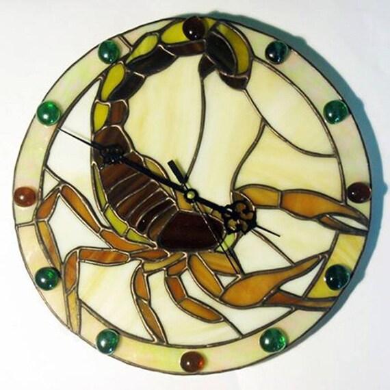 handmade wall clock tiffany style scorpion stained glass clock