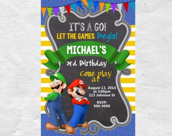 Super Mario Brothers Birthday Invitation Chalkboard Chevron Pattern Super Mario Brothers Invitation Super Mario Brothers Invite
