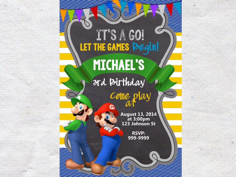 Super mario birthday – Mario Kart Party Invitations