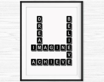 Motivational Wall Decor Inspirational Saying Success Quotes Typographic Print Canvas Quotes Office Decor Scrabble Wall Art Dorm Decor Prints