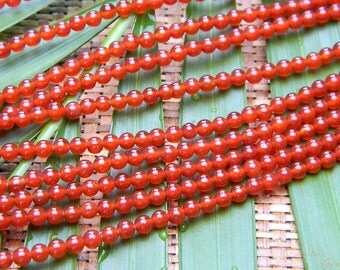 Senior* Red Agate Round Beads 3mm 15.5'' Strand
