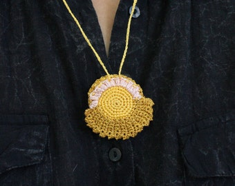 Crochet Drawstring Ring Holder, mustard yellow pouch, sun pattern, freestyle crochet, hippie necklace jewelry, pendant crochet bag, purse