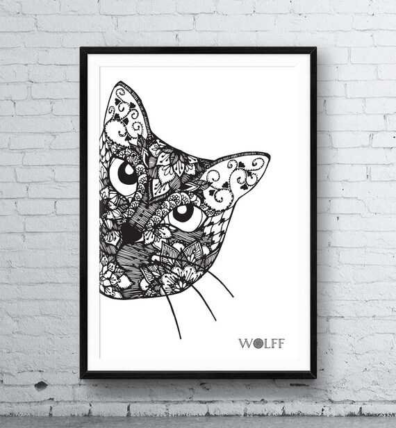 Cat Mandala Framed Poster