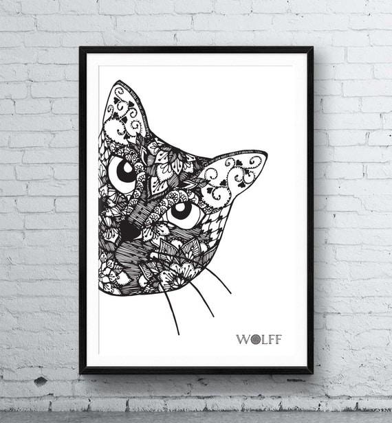 Cat Mandala Framed Poster