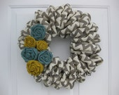 "16""-17"" Gray and White Chevron Burlap Wreath with Teal and Mustard Yellow Burlap Flowers"