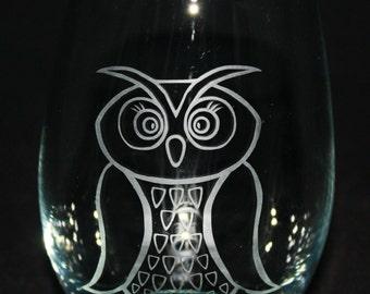Owl Stemless Wine Glass / Sandblasted Glass / Custom Drawing
