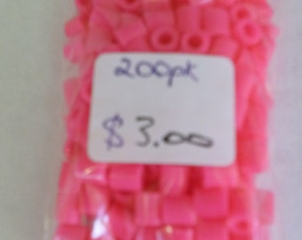 Pink plastic tube beads 200 pack