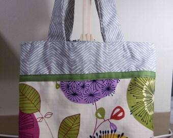 Handmade two- tone tote bag