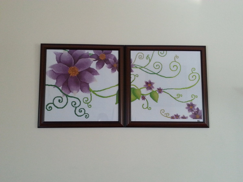 Wall Decor Cross Stitch : Handmade flower cross stitch wall decor with by