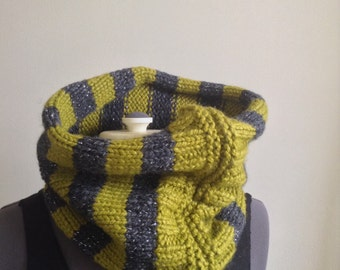 Green and grey striped handmade knit cowl scarf