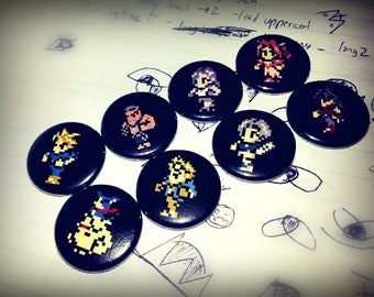 8 one inch Final Fantasy 7 buttonpins