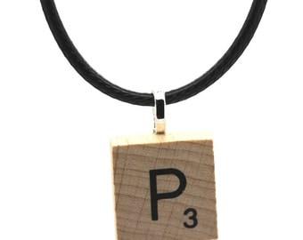 Wooden Scrabble Letter Necklace + black leather cord. Letter P . SKU006123