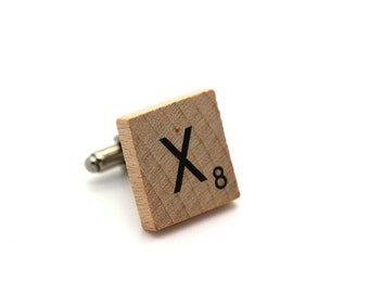 Wooden Scrabble Letter Cufflinks. ( Sold individually ) . Letter X . SKU005520