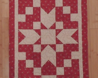 Red and White Star Table Runner