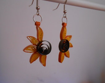 Paper quilling sunflowers earrings