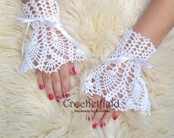 White Wrist Cuffs with satin ribbon, Fingerless, Bridal Accessories, Wedding Jewelry, victorian lace fingerless gloves, crochet cuff