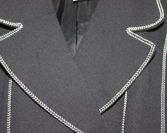 Black and white wool jacket, vintage women chic black jacket , classic, Size T3