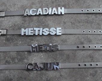 Acadian Metis Metisse or Cajun Stainless Mesh Bracelet Native American Wristband Indigenous Jewellery