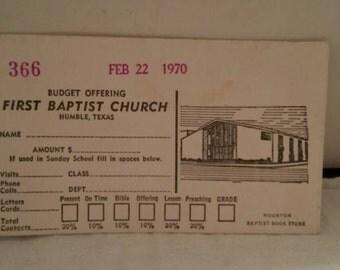 Baptist Church offering envelope