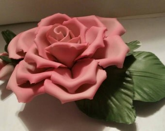 Capodimoute Porcelain Pink Rose