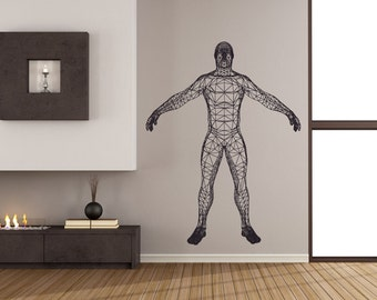 Wall decal Wireframe man, Man wall sticker, Wireframe wall decal, Vinyl wall sticker, Wall stencil, Wall decor
