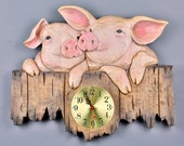 Wooden Gift Hand Carved Wooden Clocks Pigs Wood Carving Pig Carved on Wood