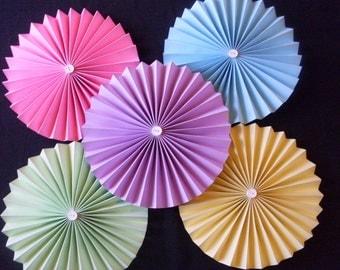 Cardstock Pastel Paper Rosette Circle Pinwheels. Wedding, Birthday, Shower, Summer fun!