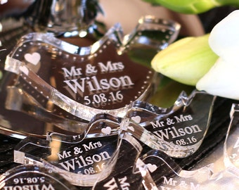 Personalised Mr & Mrs Love Heart Doves Wedding Table Decoration Favours Clear 5mm