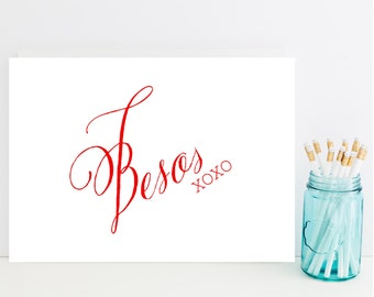 Besos Card - Romantic Greeting Card