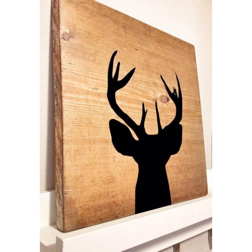 Rustic deer head silhouette wood art rustic home decor for Silhouette wall art