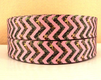 7/8 inch Light Pink and CAMOUFLAGE CHEVRON (thinner pattern) - Printed Grosgrain Ribbon for Hair Bow