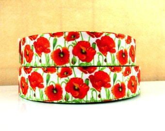 1 inch - Beautiful Red Poppy Flowers on White - Printed Grosgrain Ribbon for Hair Bow