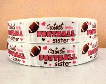 7/8 inch Cutest Football Sister on White - SPORTS Printed Grosgrain Ribbon for Hair Bow