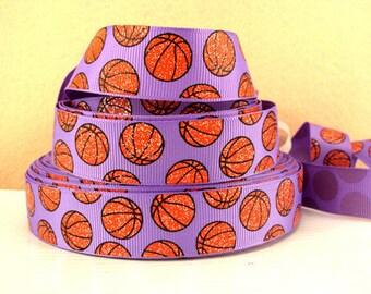 7/8 inch Glitter Basketballs / Basketball on LIGHT PURPLE SPORTS Printed Grosgrain Ribbon for Hair Bow