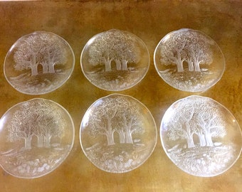 SET OF 6 Clear Glass Tree Design Plate Set, Nibbles Dish, Party Plates, Dessert Plates, Salad Plates