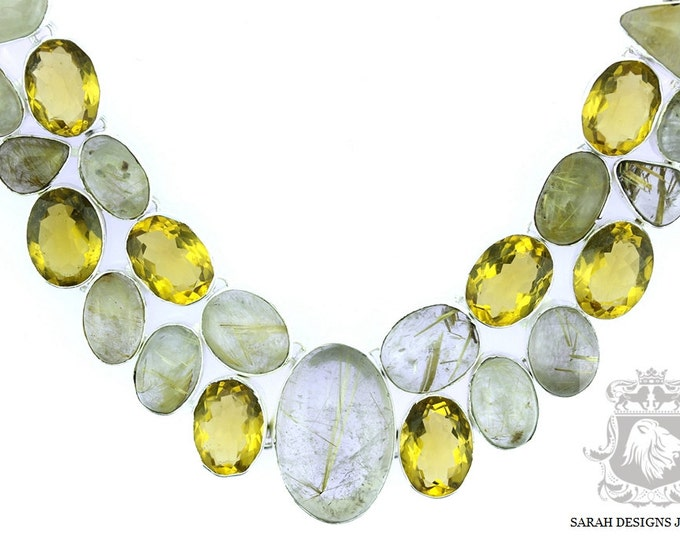 Rutile RUTILATED Quartz Brazilian Citrine 925 SOLID Sterling Silver Necklace & FREE Worldwide Shipping