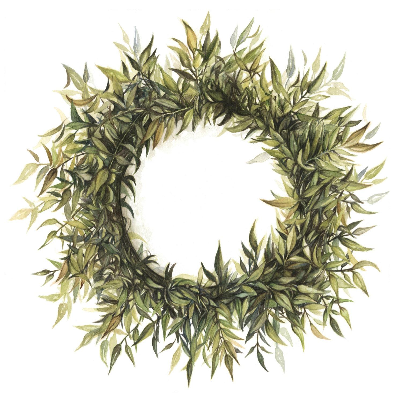 Wreath watercolor print wreath painting wreath watercolor for Watercolor greenery