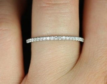1.5mm HALFWAY Eternity F VS2 0.29ct Petite Micro Pave Diamond Wedding Ring 14k White Gold Diamond Anniversary Band ( Platinum Available)