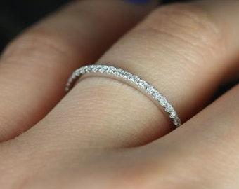 1.7mm HALFWAY 0.25ct F VS Micro Pave Diamond Wedding Ring 14k White Gold Diamond Anniversary Ring Eternity Band
