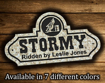 """Horse Stall Sign 8.5"""" x 15"""" Personalized Horse Name Plaque Plate Farm Ranch Barn Stable Stall Signs Quarter Horse Barrel Racer 4H Club"""