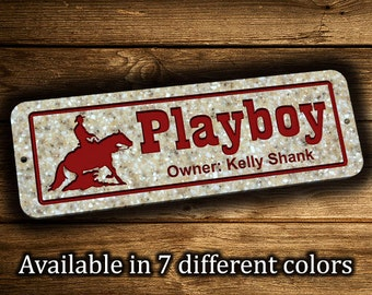 """Horse Stall Sign 5"""" x 15"""" Personalized Horse Name Plaque Horse Name Plate Horse Sign Farm Sign Ranch Sign Barn Sign Stable Sign 4H Club"""