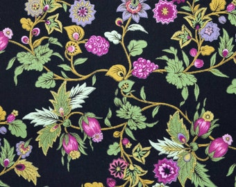 Cotton Quilt Fabric small print floral bright colours on black background  By the yard - yardage half yard fat quarter - TF113