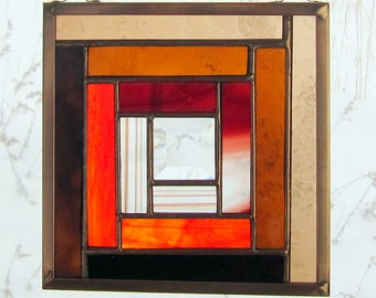 """Stained Glass Quilt Square 6"""" Appalachian Log Cabin Design Orange and Browns Traditional Rustic Pattern Window Hanging"""