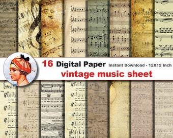 16 x vintage Music sheet digital paper - Digital paper patterns - Scrapbooking Paper, Instant Download (No. 13)