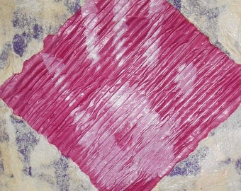 Hands on Purple Haze! Original Mixed Media Abstract Collage Art on A3 Paper - Purple - Cream - White - Tissue papers - Paint
