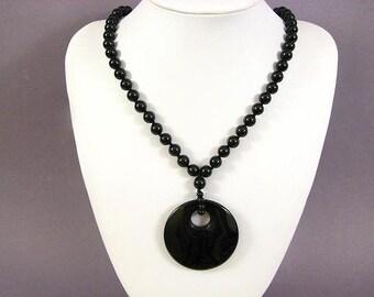 Necklace Black Onyx 50mm Agogo Round Pendant 20 inch NSNX5669