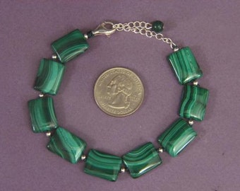 Bracelet Genuine Malachite 16mm Pillow 925 Silver Clasp BSMA1575
