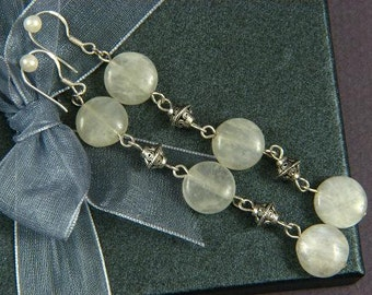 "Earrings 3X Moonstone 3.5"" 12mm Discs 925 ESMS1423"